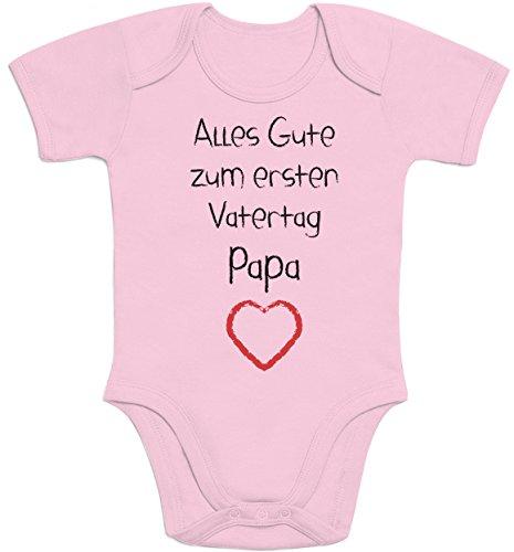 Shirtgeil Alles Gute zum ersten Vatertag Papa Herz - Vater Geschenk Baby Kurzarm Body 3-6 Monate Rosa