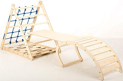 Affenling Set – dreiseitiges Kletterdreieck mit Rutsche & Wippe | Klettergerüst Kinder ab 10 Monate bis 6...