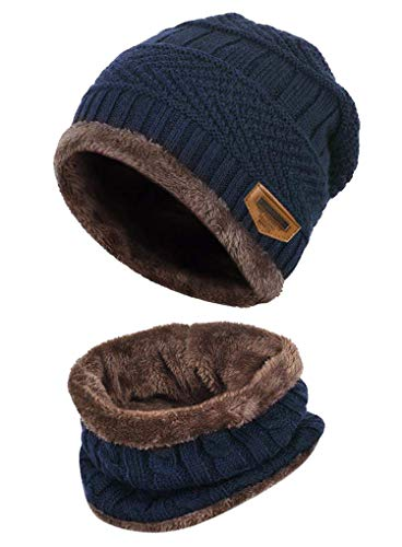 K.tchard Kinder Wintermütze Beanie Hut mit Schal Set Slouchy Strickmütze Warme Knit Skull Cap Fleecefutter...