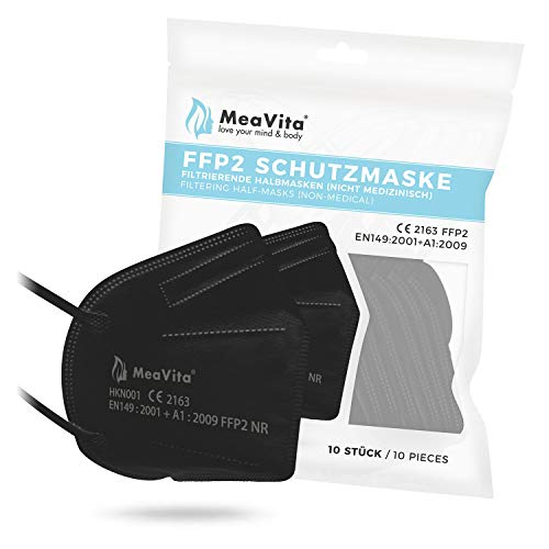 MeaVita FFP2 Maske schwarz, EU CE Zertifizierte Mund- und Nasenschutz nach EN149:2001+A1:2009, Atemschutz hohe...