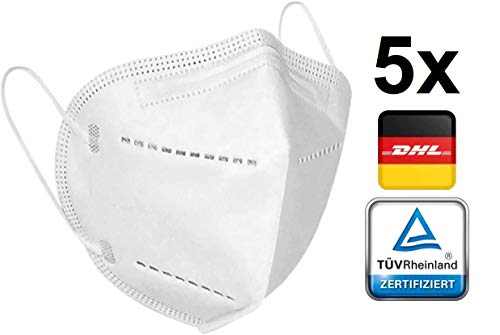 5X TÜV Rheinland zertifizierte Atemschutz Maske | Mund - Schutzmaske Filterleistung 95% Einwegmaske...