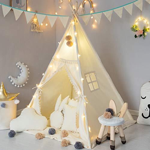 TreeBud Kinder Tipi Zelt mit gepolsterter Matte, Banner, Lichterkette, Wollknäuel, Tragetasche, Beige...