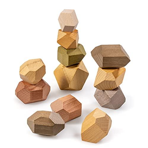naturling Balancier Stapelsteine - Montessori Holzspielzeug handgemacht - 12 Bunte Holz Spielsteine für...