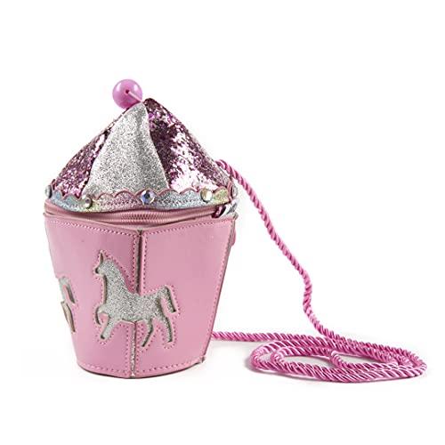 Inca. Handtasche für Mädchen, rosa mit Glitzer, Einhorn-Karussell-Form, Umhängetasche, Mädchen, mit langem...