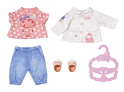 Zapf Creation 704127 Baby Annabell Little Spieloutfit 36 cm - Puppenoutfit mit Bluse, Jacke, Hose, Schuhe und...