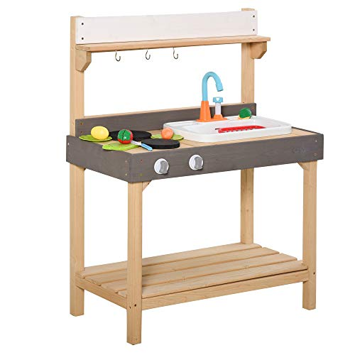 Outsunny Matschküche mit Wasserhahn Kinderküche mit Zubehör 14-Teilige Spielküche Spielzeugküche Holz...