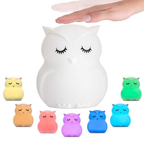 Pauleen 48033 Good Night Owl Nachtlicht Eule für Kinder mit Akku LED Kinderzimmerlampe mit Farbwechsel aus...