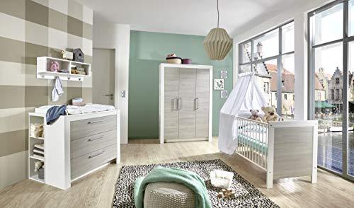 Babyzimmer Toni in Weiß und Ulme Silber- Grau 6 Teile Komplettset mit Schrank, Bett mit Lattenrost und...
