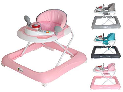 Clamaro 'BABYRACER' Baby Gehfrei (rosa) - Höhenverstellbare Lauflernhilfe mit extra hoher Rückenlehne und...