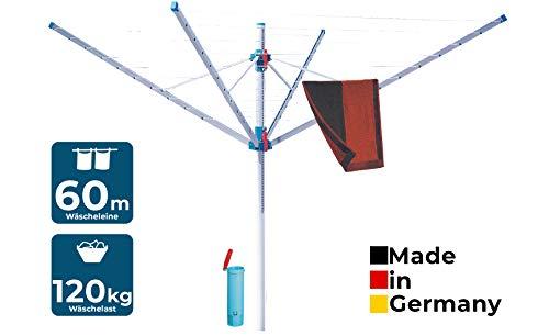 BLOME Wäschespinne Primera - Wäscheständer für den Garten inkl. Schutzhülle & Bodenhülse, Wäscheschirm...