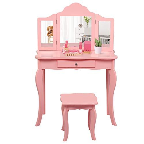 COSTWAY Kinder Schminktisch mit Hocker und Abnehmbarer Spiegel, Mädchen Frisiertisch Holz, Kindertisch mit...