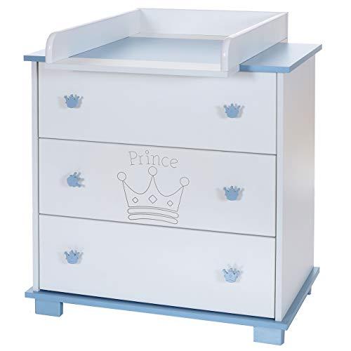 Wickel-Kommode Baby Wickelauflage Aufsatz abnehmbar 3 grosse Schubladen; weiß-blau