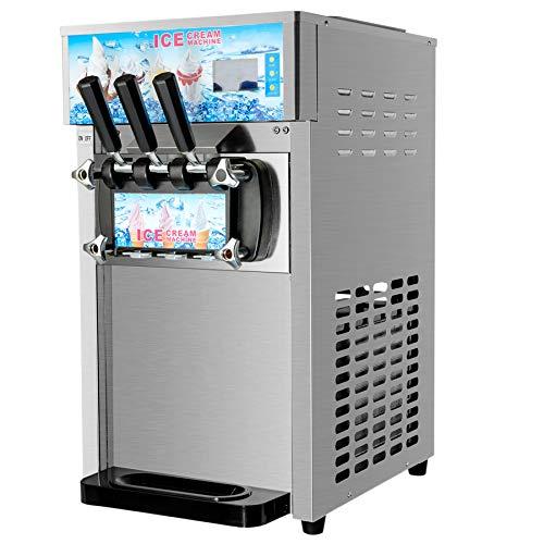 CO-Z Kommerzielle Eiscreme Maschine 3 Geschmack Speiseeisbereiter 18L/H Speiseeismaschine Edelstahl Desktop...