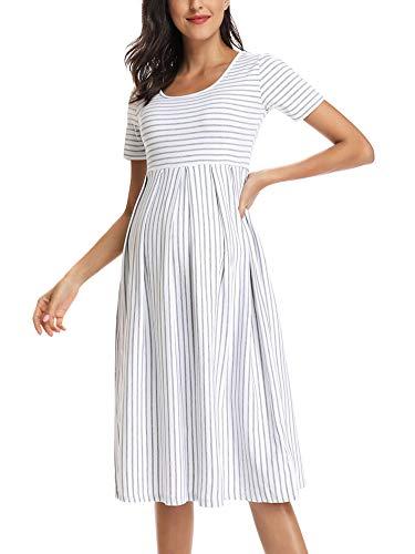 Love2Mi Damen Kurzarm Umstandskleid Schwangerschafts Kleid Streifen Knielang A-Line Umstandsmode, Weißer...