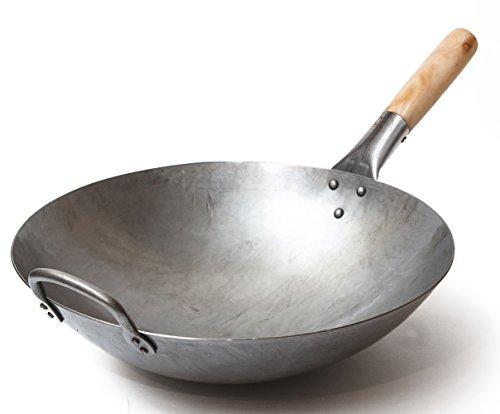 Traditioneller handgehämmerter Wok aus Karbonstahl mit Griff aus Holz und Stahl (Durchmesser 35,6 cm,...