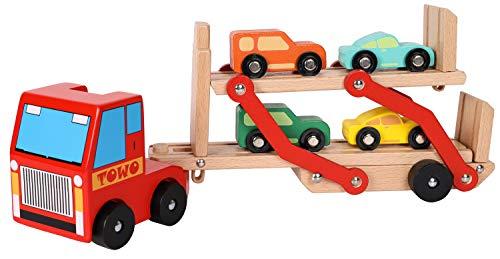 Toys of Wood Oxford Holz LKW - Autotransporter - holzauto mit anhänger mit 4 Autos -holzauto ab 3 Jahre