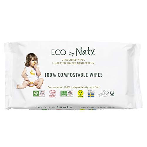 Eco by Naty Parfümfreie Baby-Feuchttücher, 672 Stück (12 Packungen mit je 56), pflanzliche kompostierbare...