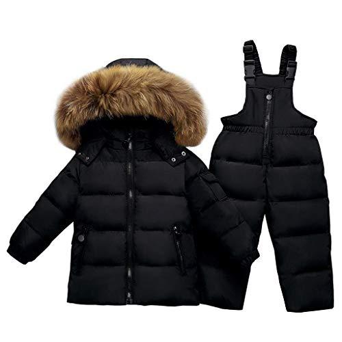 Kinder Bekleidungsset Junge Mädchen Süß Schneeanzug mit Kaputze Daunenjacke + Skihose 2tlg Verdickte...
