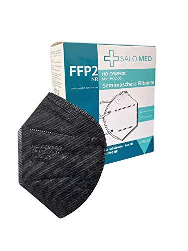 SALO MED 20x Masken FFP2 Schwarz - CE zertifiziert - Einzeln verpackt - 5-Lagen-Maske - BFE 99% Filterung -...