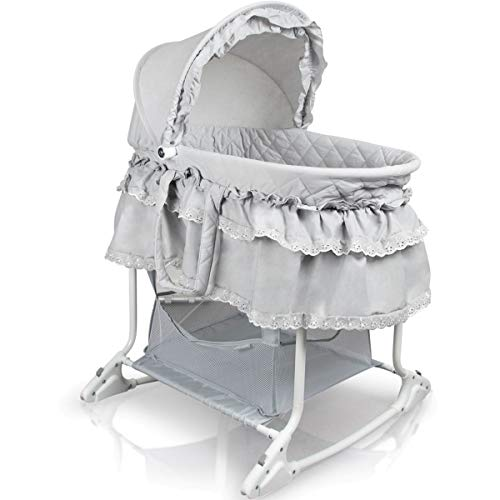 Babywiege/Stubenwagen mit Schaukelfunktion (Abnehmbarer Babykorb) (Grau)