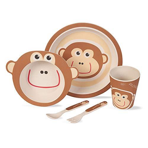 BIOZOYG Kinder Geschirr Set aus Bambus 5 teilig I Kindergeschirr Set AFFE bpa frei I Tafelservice aus...