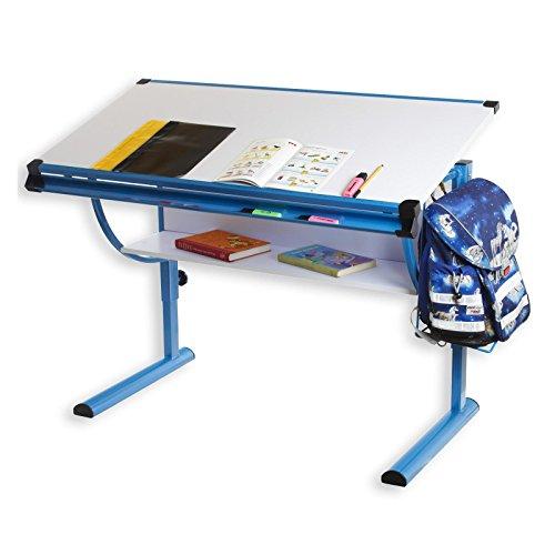 IDIMEX Kinderschreibtisch Schülerschreibtisch Blue in weiß blau Schreibtisch höhenverstellbar...