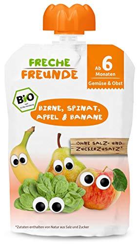 FRECHE FREUNDE Bio Beikost-Quetschie Birne, Spinat, Apfel & Banane, Babynahrung mit Obst & Gemüse ab dem 6....