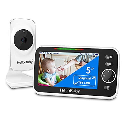 HelloBaby Video Babyphone mit kamera 5 Zoll Farb-LCD-Bildschirm HB50 Infrarot-Nachtsichtkamera...