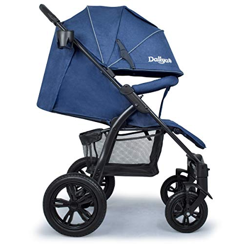 Daliya® Variyo Buggy Kinderwagen Jogger XXl Sonnenverdeck Lederbezug Kautschuk Hartgummi Räder (Set 00,...
