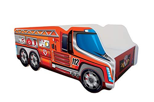 Alcube Autobett Motiv Feuerwehr LKW rot 140x70 cm - sicheres Kinderbett aus MDF mit Matratze Lattenrost und...