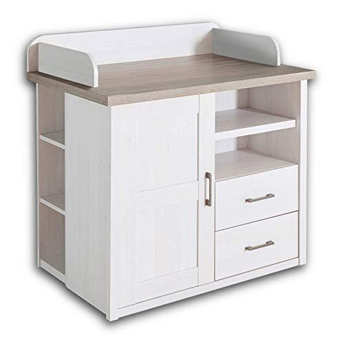 LUCA Elegante Schlafzimmer Kommode im Landhausstil - stilvoll & ausdrucksstark in Pinie Weiß / Trüffel - 60...