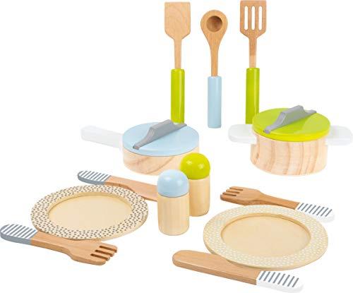 small foot 11098 Geschirr- und Topfset 'Kinderküche' aus Holz, perfekte Ergänzung zu jeder Spielküche,...
