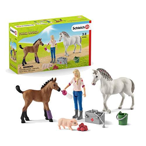 Schleich 42486 Farm World Spielset - Arztbesuch bei Stute und Fohlen, Spielzeug ab 3 Jahren