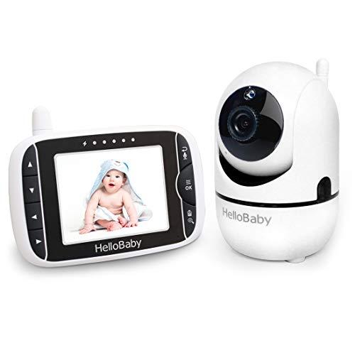 Babyphone mit Kamera, HelloBaby Video-Babyphone mit Pan-Tilt-Zoom-Kamera, 3,2-Zoll-Farb-LCD-Bildschirm,...