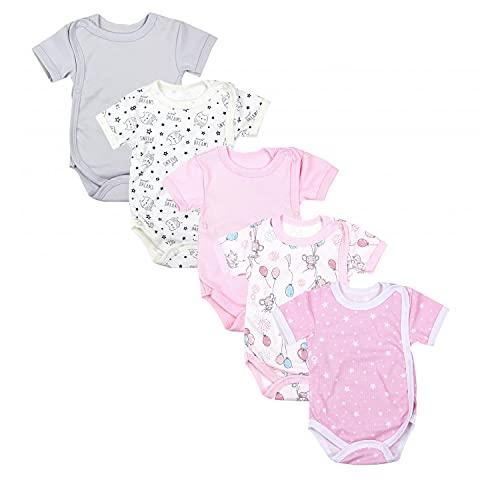 TupTam Baby Mädchen Kurzarm Wickelbody Baumwolle 5er Set , Farbe: Farbenmix 3, Größe: 80