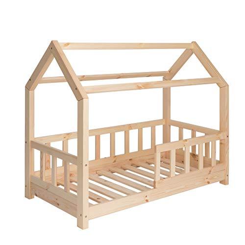 Riverbank Kinderbett 70x140 mit Rausfallschutz - Kinder Hausbett aus Kiefer Holz mit Rollrost | Stabiles Haus...