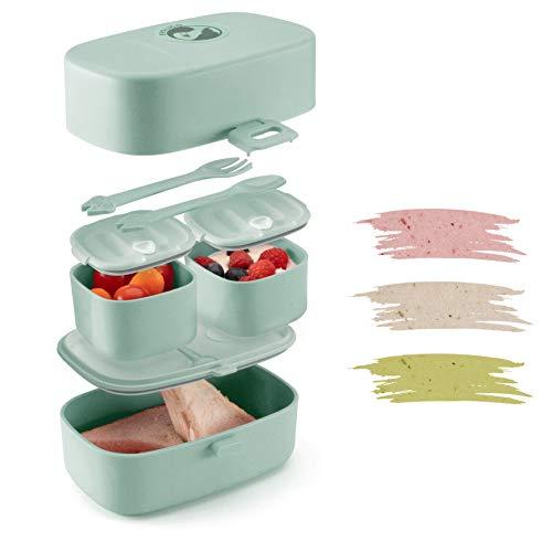 Evolico ♻ Nachhaltige Lunchbox für Kinder - Inkl. eBook mit süßen Rezeptideen - Brotdose Kinder mit 3...