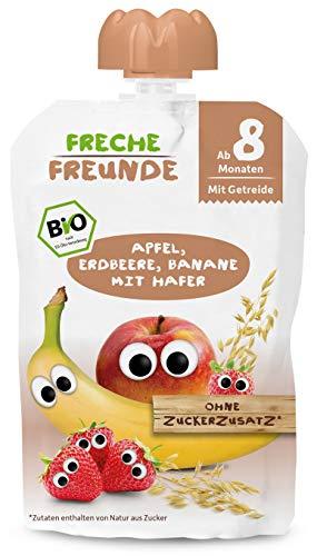 FRECHE FREUNDE Bio Beikost-Quetschie Apfel, Erdbeere, Banane mit Hafer, Babynahrung ab dem 8. Monat, veagn,...