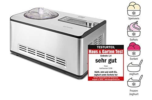 CASO Ice Creamer - 2 in 1 Design Eismaschine und Joghurtmaschine mit Kompressortechnik, kein Vorkühlen...