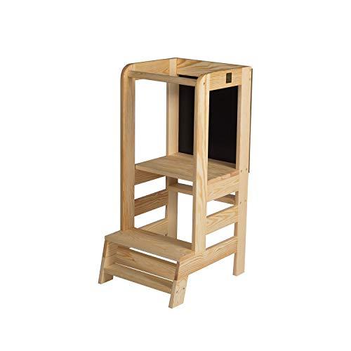 MEOWBABY Lernturm für Baby Kinder Mit Einer Tafel Kinder Schemel aus Holz Lernstuhl Montessori Küchenhelfer...