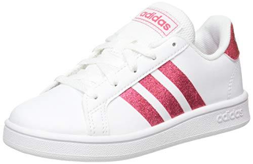 adidas Grand Court K Tennisschuh, FTWR Weiss/Real Pink S18/ FTWR Weiss, 32 EU