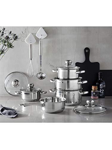 GSW 806572 Kochtopf-Set Silver Star 11-tlg, Edelstahl rostfrei, Glas, silber