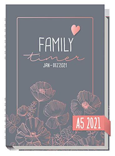 Family-Timer 2021 A5 [Poppy] Der Familien-Kalender! 12 Monate: Januar bis Dezember 21 | Familien-Planer für...