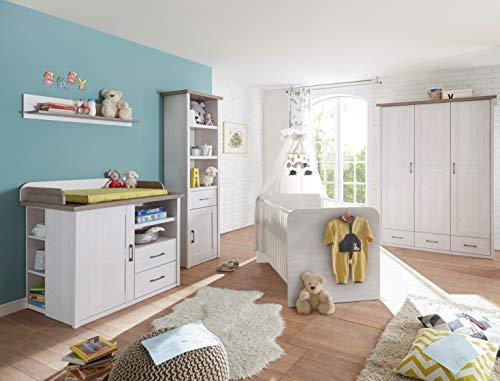 Babyzimmer Luca in Pinie Weiß und Trüffel 4 teiliges Superset mit Schrank, Bett mit Lattenrost,...