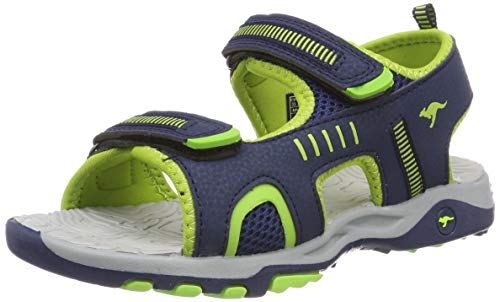 KangaROOS K-Logan Unisex-Kinder Sneaker, Blau (Dark Navy/Lime 4054), 37 EU