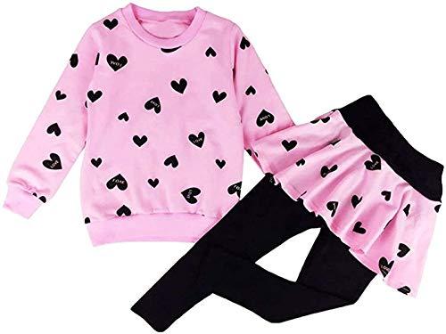 Kinder Kleidung Set Lange Hülse Tops Mädchen Warm Hoodie T-Shirt Top + Rock Hose Outfits mit Herzform 98 104...