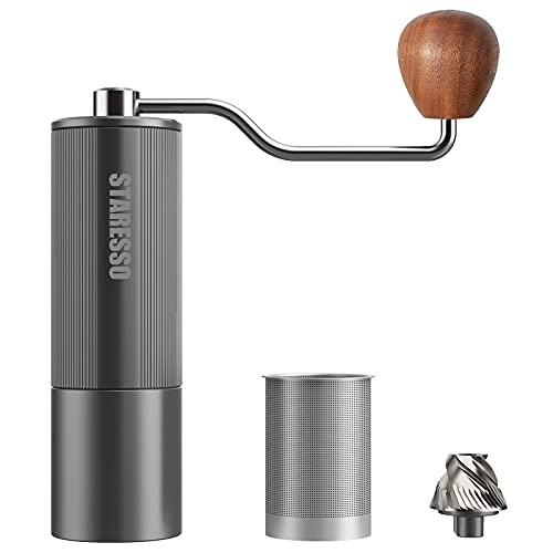 STARESSO Kaffeemühle Manuell aus Edelstahl Mahlwerk Aluminiumlegierung Hochwertig Einstellbar...