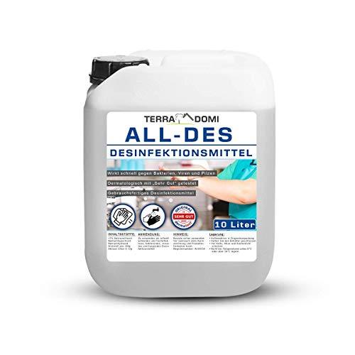TerraDomi All-Des 10 Liter Desinfektionsmittel ohne Parfüm für Hände und Flächendesinfektion gegen 99,9%...
