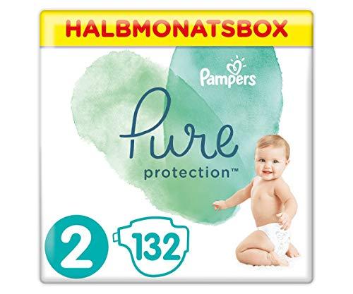 Pampers Größe 2 Pure Protection Baby Windeln, 132 Stück, HALBMONATSBOX, Mit Premium-Baumwolle Und...