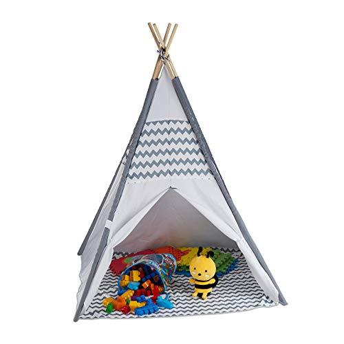 Relaxdays 10035300 Tipi Zelt für Kinder, mit Boden, Kinderzimmer Zelt, Wigwam Kinderzelt, HxBxT: 150 x 120 x...